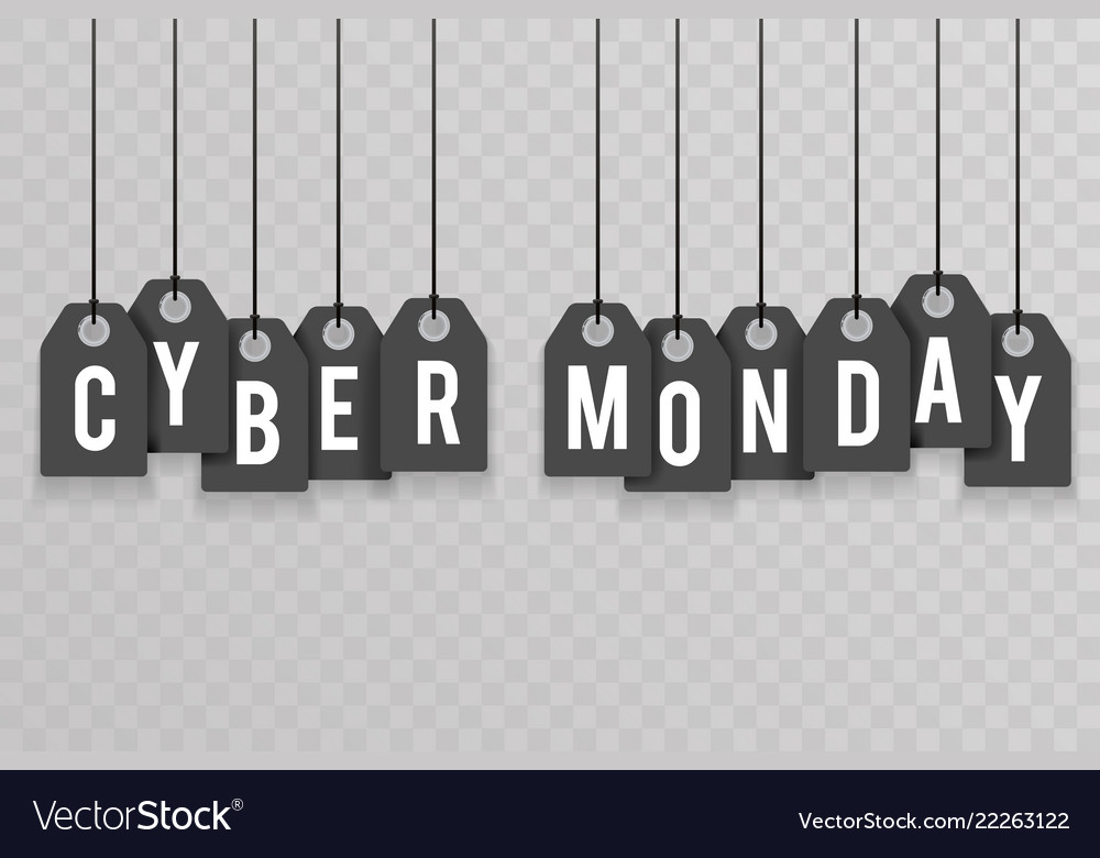 Cyber monday price sale text labels transperent