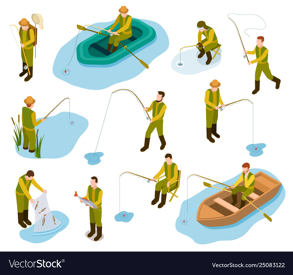 Fisherman isometric fishing in river pond sea
