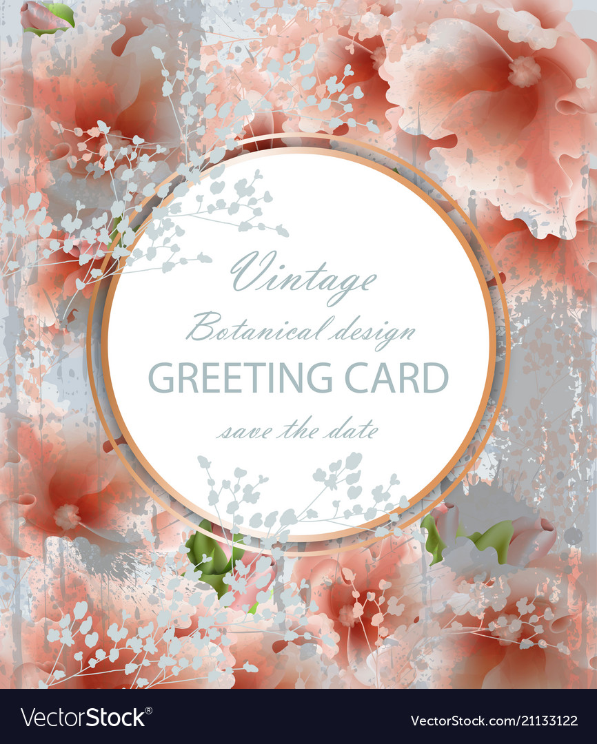 Greeting Card With Beautiful Delicate Pink Flowers