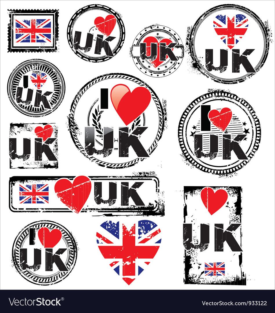 I love UK ink rubber stamp set