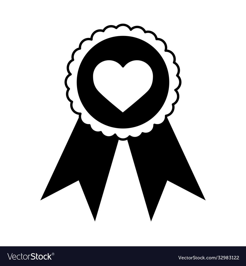 Love heart romantic rosette award linear style