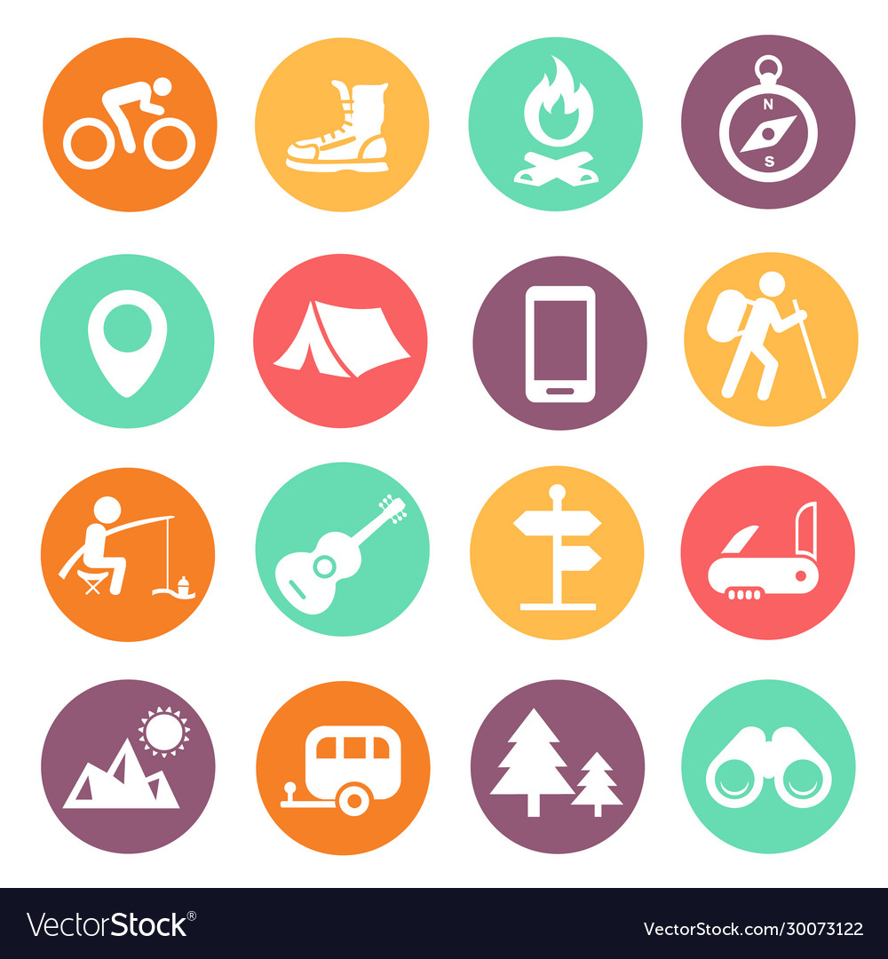 Outdoor traveling icons tourism hiking