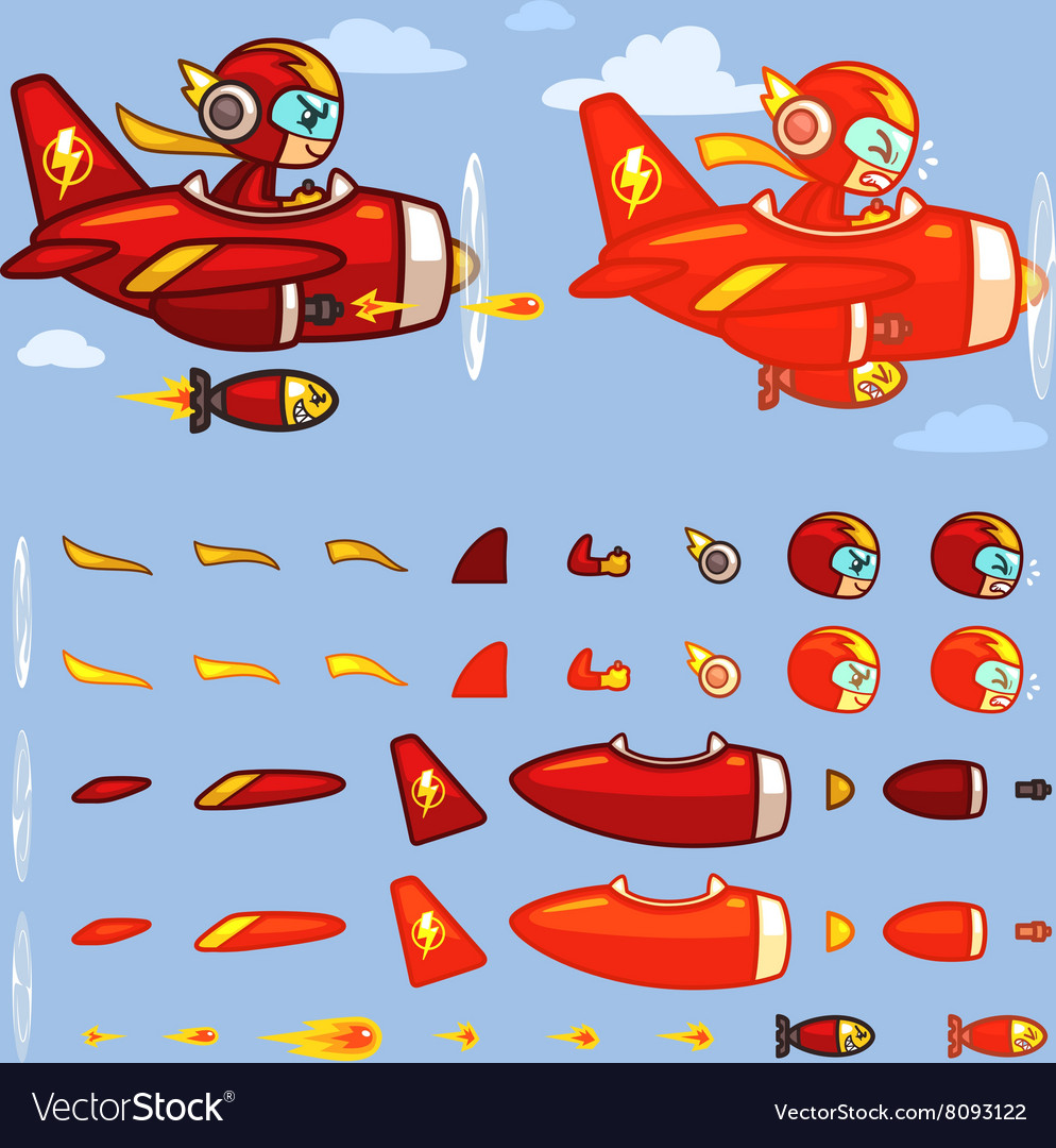 Red Thunder Plane Game Sprites vector image