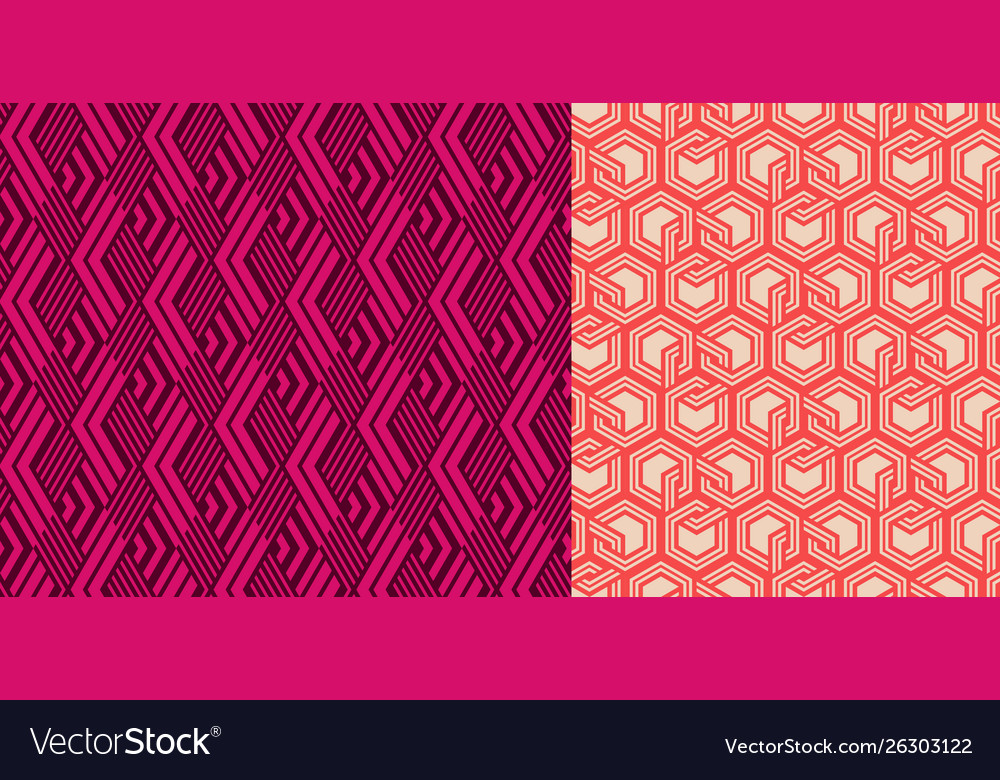 Set seamless patterns abstract geometric