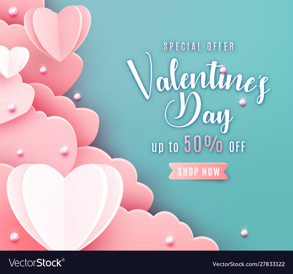 Valentines day sale background in trendy paper cut