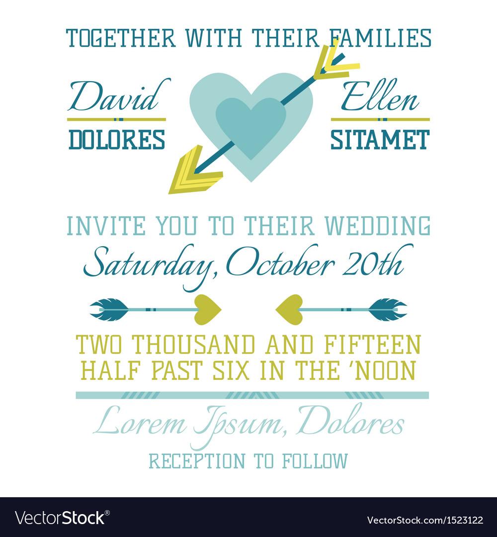 Wedding Vintage Invitation - Heart and Arrows vector image