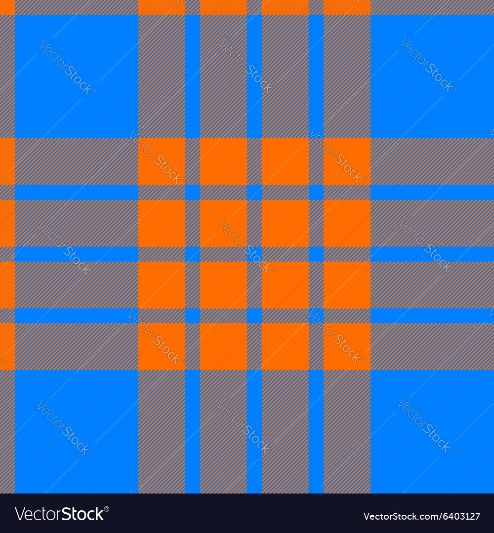 Clan tartan seamless background orange and blue vector image