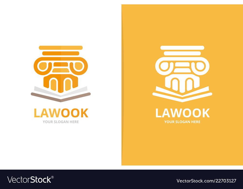 Column and open book logo combination