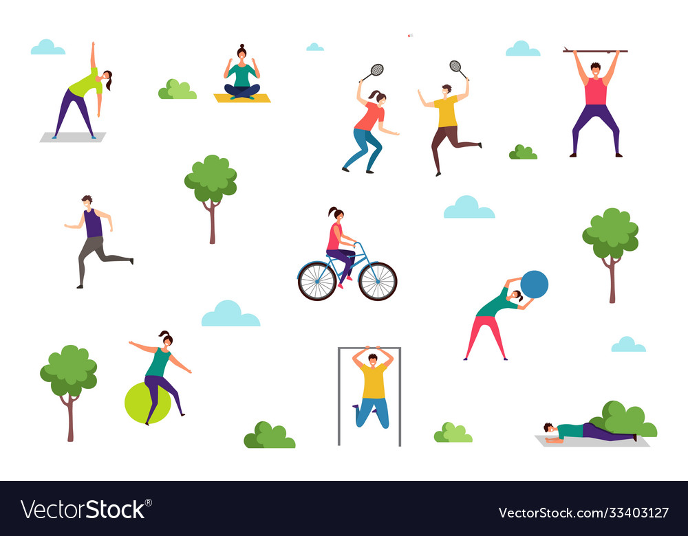 People doing sport exercises outdoor activities