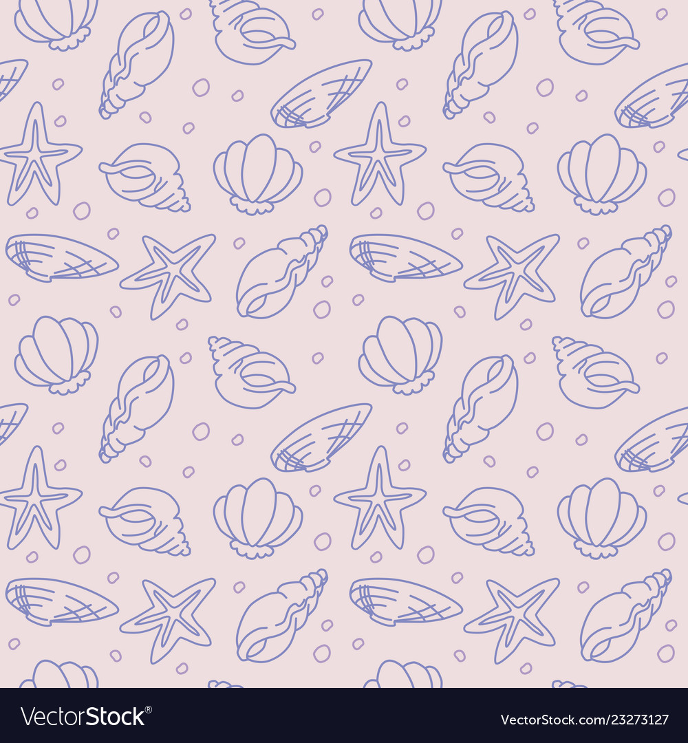 Seamless pattern of seashells and starfishes