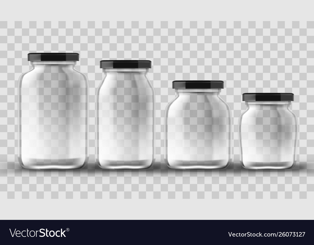 Set of glass jars for canning and preserving on