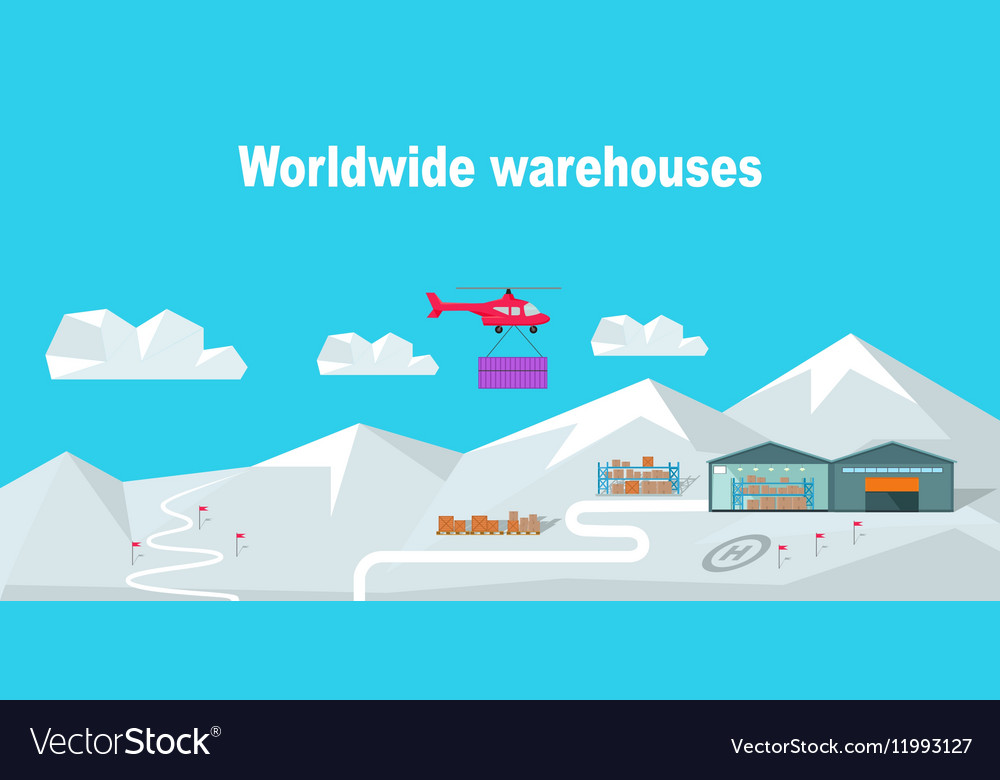 Worldwide Warehouse Delivering to the North Pole vector image