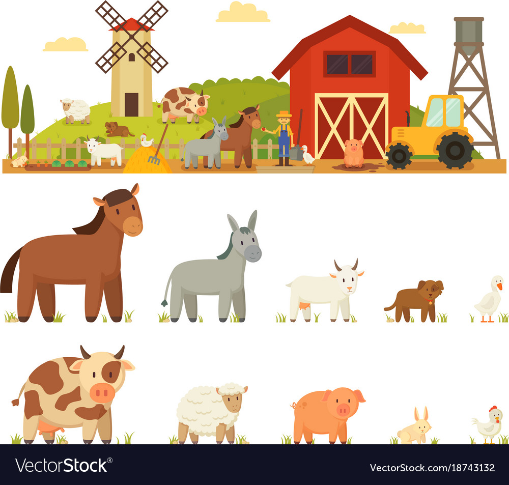 Animal farm white background