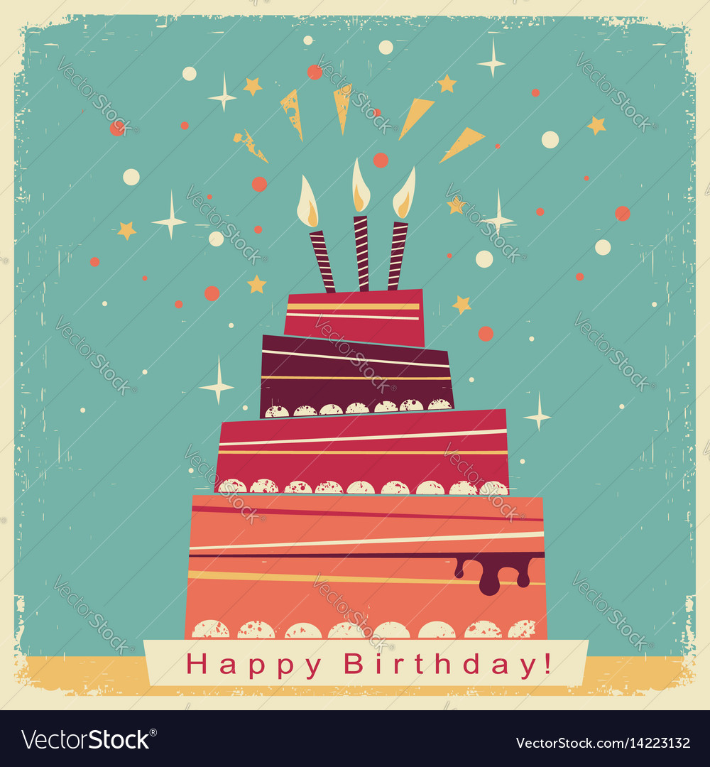Birthday sweet cakeretro card on old paper