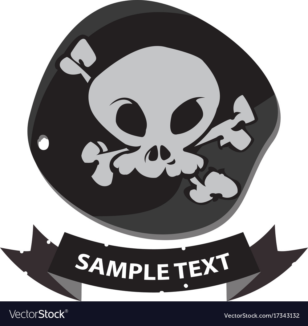 Black label pirate symbol with ribbon banner