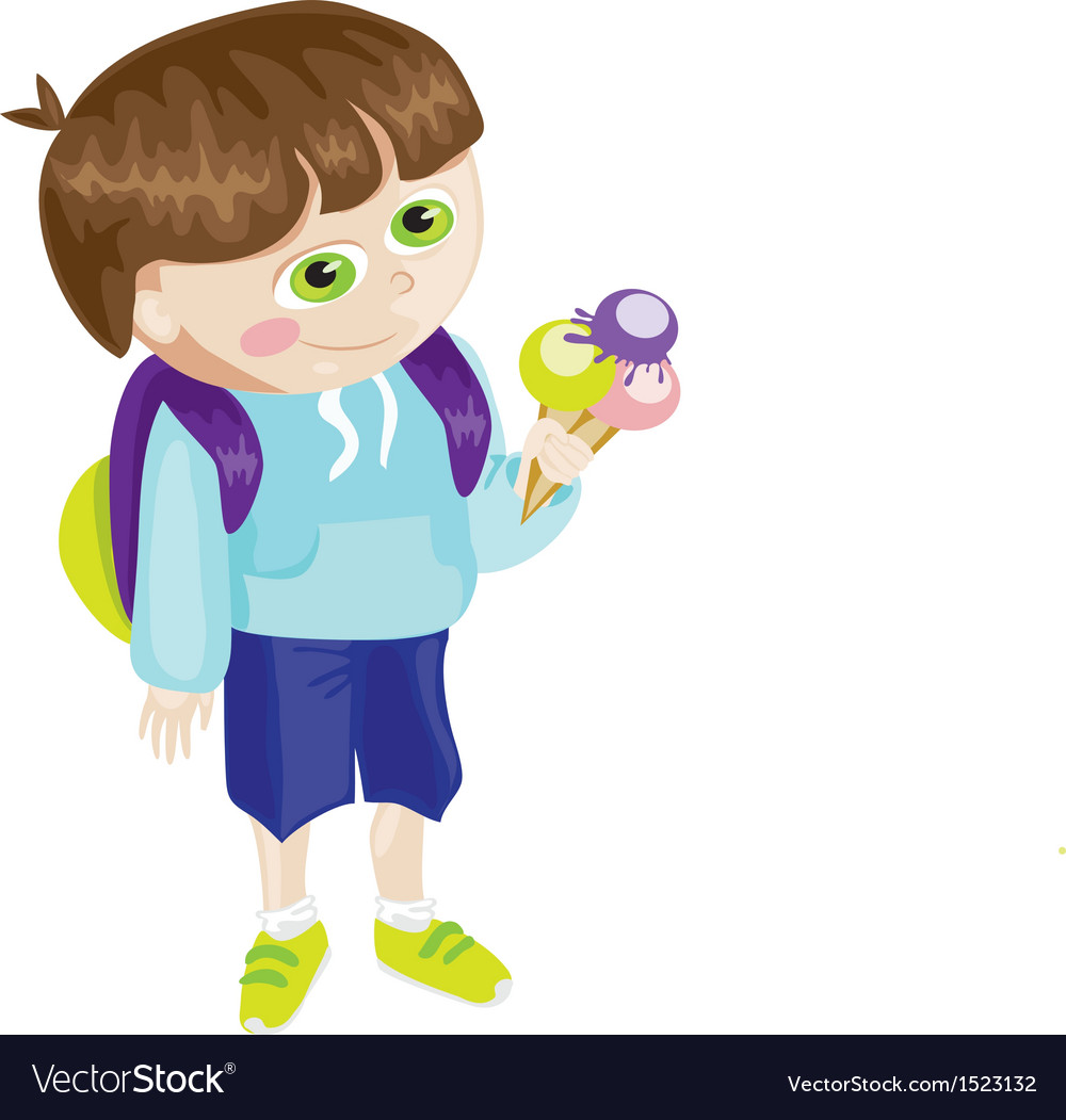 Cartoon school boy with icecream vector image
