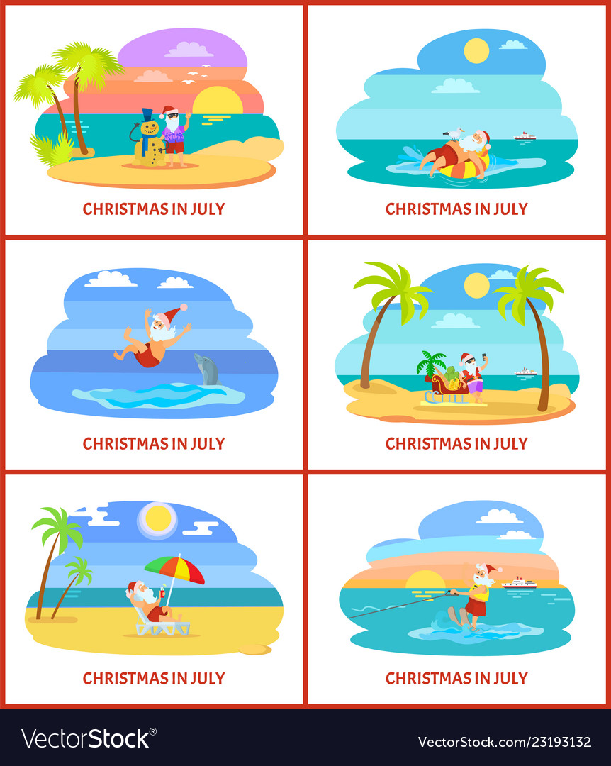 Christmas In July Santa Clipart.Christmas In July Santa Claus With Snowman Of Sand