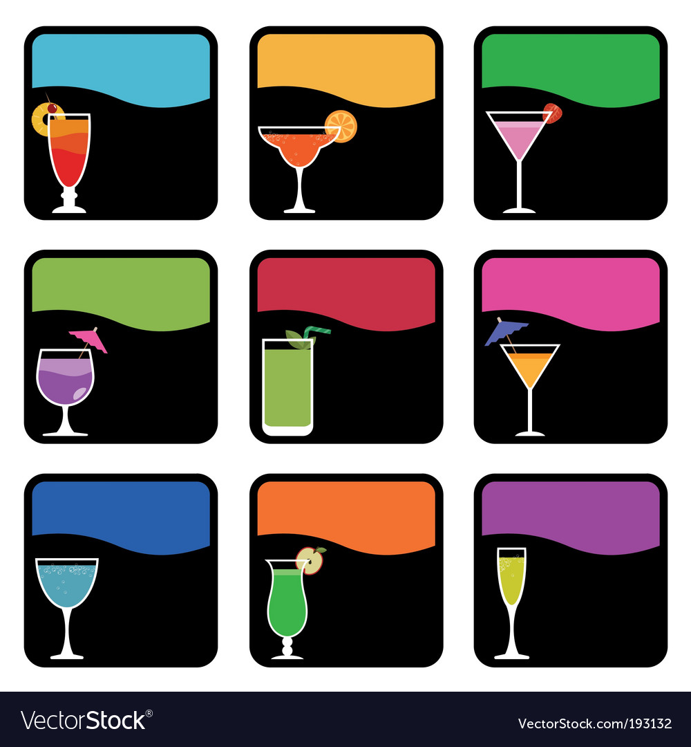 Cocktail icons vector image