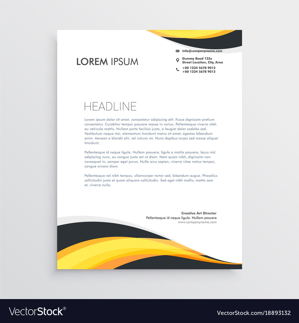 Elegant Yellow And Gray Waves Letterhead Template Vector Image