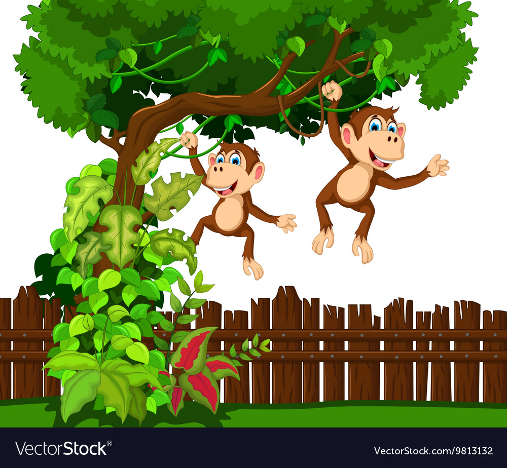 Happy monkey cartoon vector image