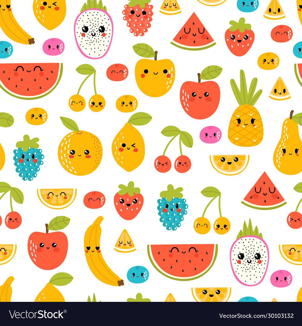 Seamless pattern with funny and happy kawaii