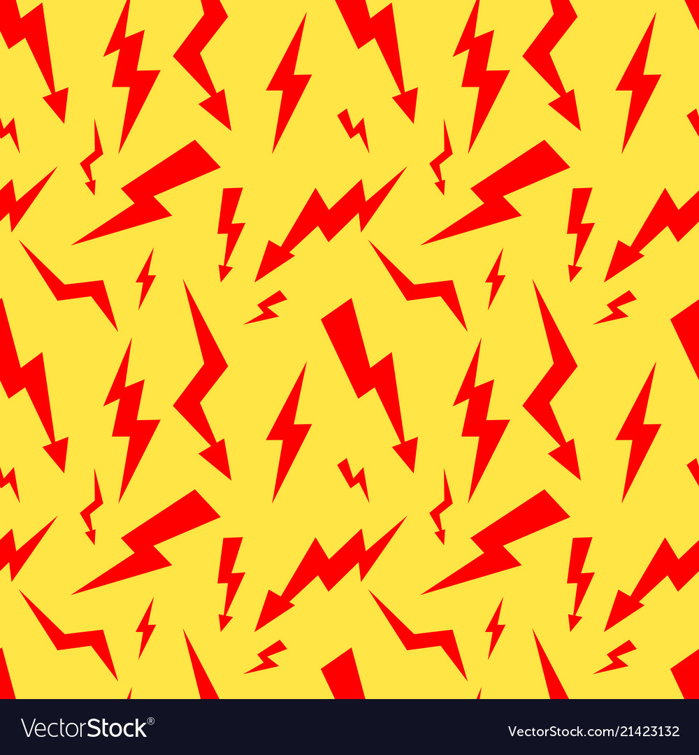 Seamless pattern with red thunderbolt on yellow