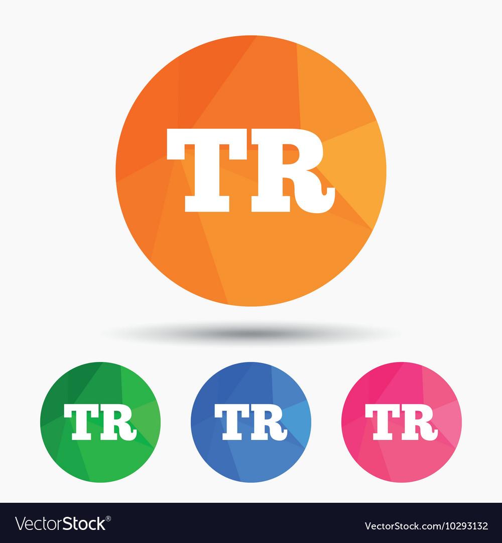 Turkish language sign icon TR translation vector image