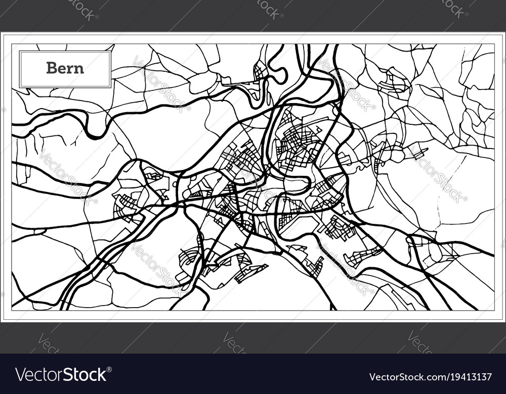 Bern switzerland map in black and white color Vector Image
