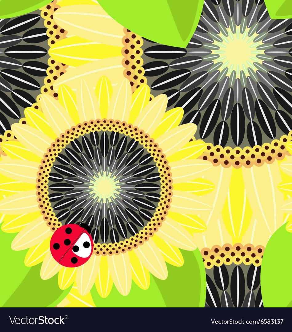 Big sunflowers and ladybug seamless background