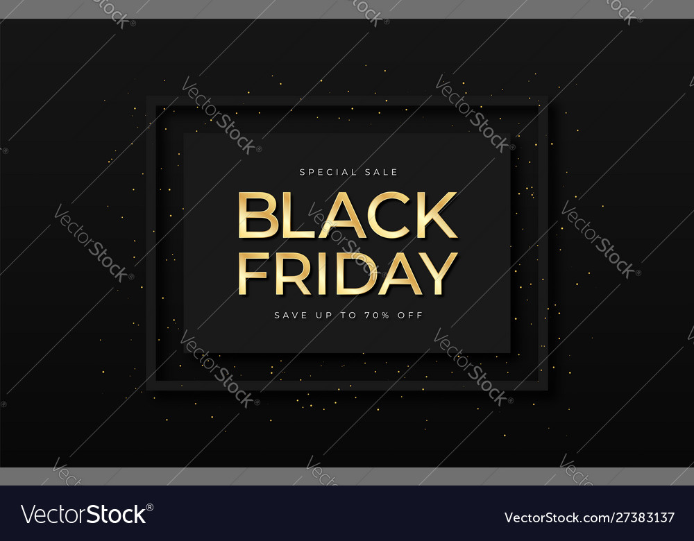 Black friday sale banner shiny golden text in