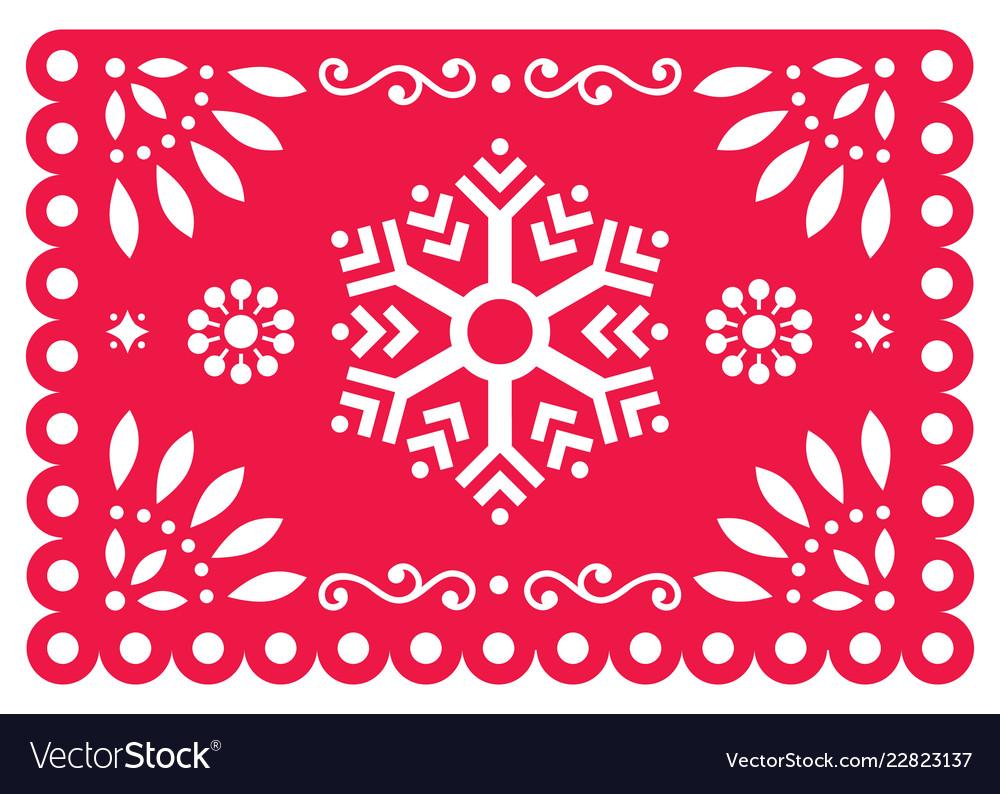 Christmas papel picado design- snowflake