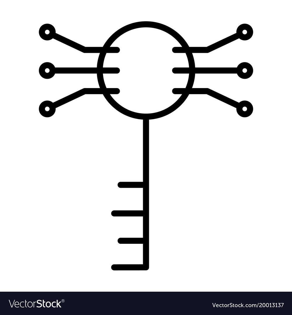 electronic circuit key line iconminimal pictogram vector imageElectronic Circuit Key #12