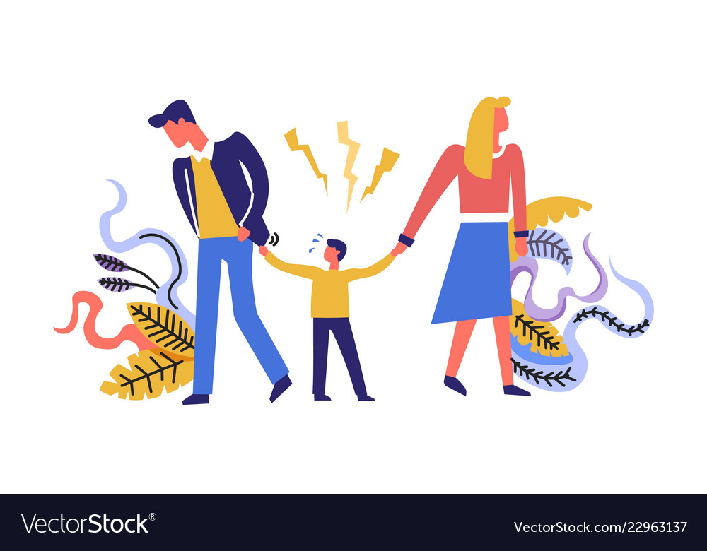 Family Problems Father And Mother With Chil Vector Image