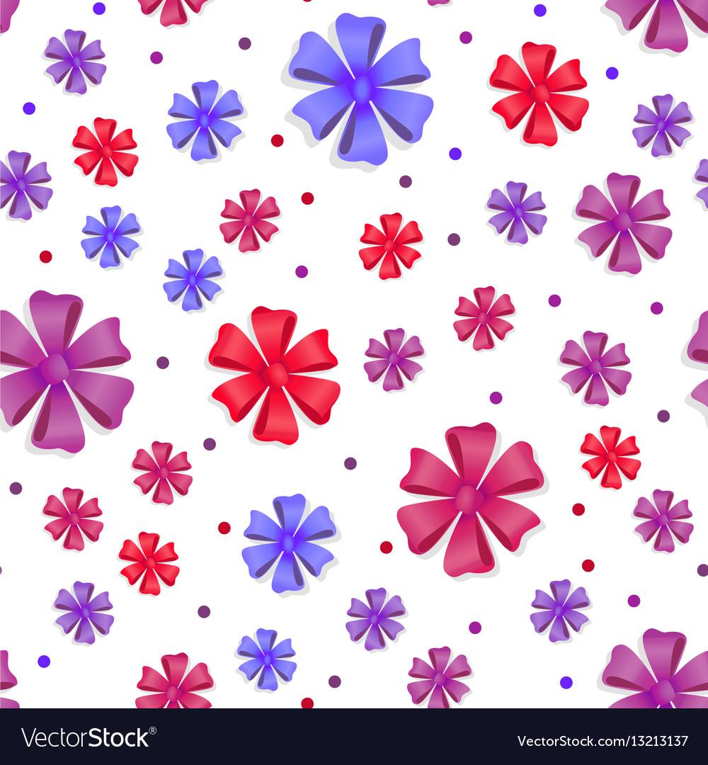 Flower bows seamless pattern cute bright bowknots