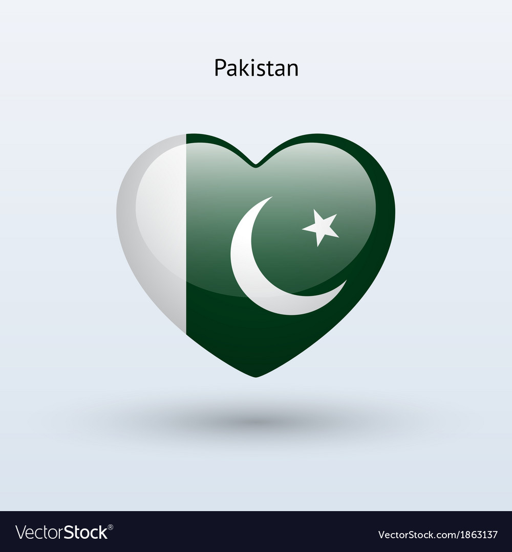 Love Pakistan symbol Heart flag icon vector image