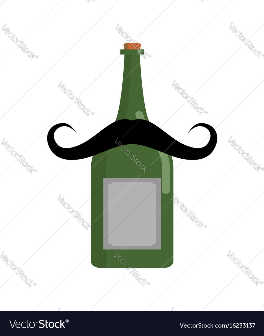 Old bottle of wine with mustache vintage alcohol vector image