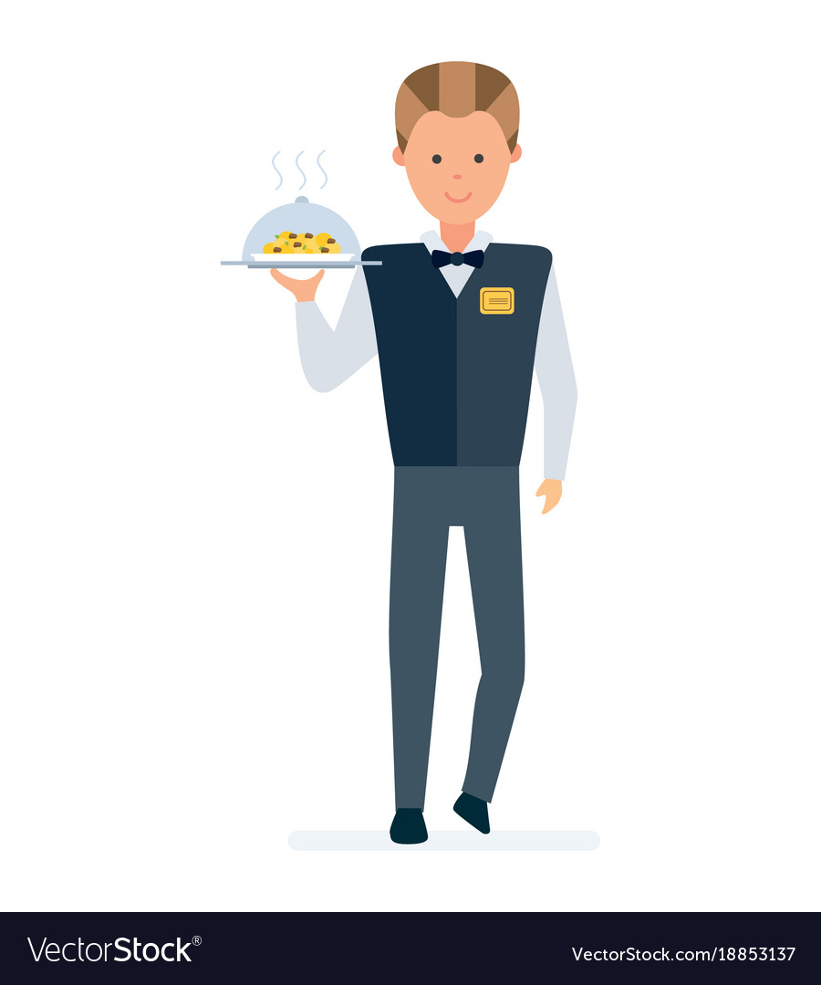 restaurant waiter takes order brings a dish vector image