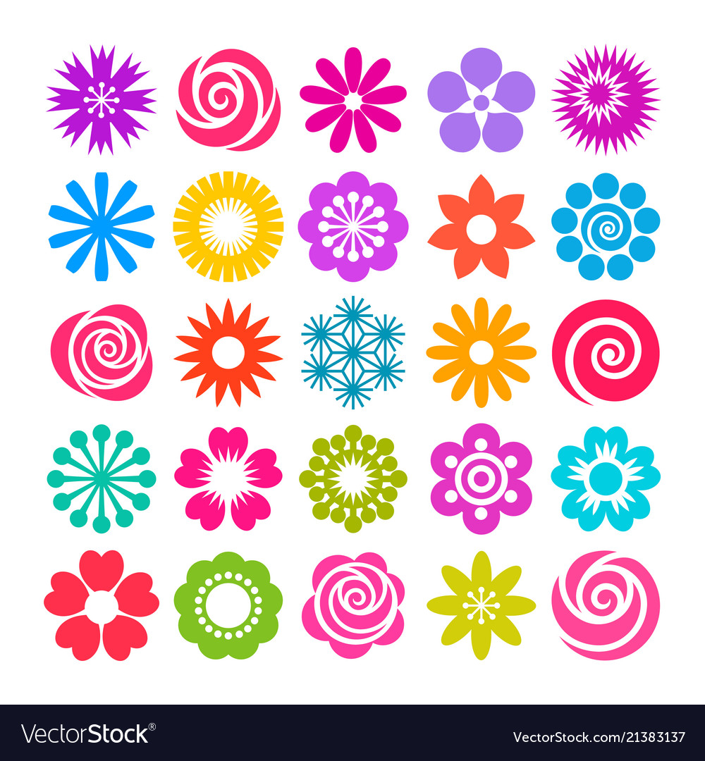 Set flowers icons in flat style