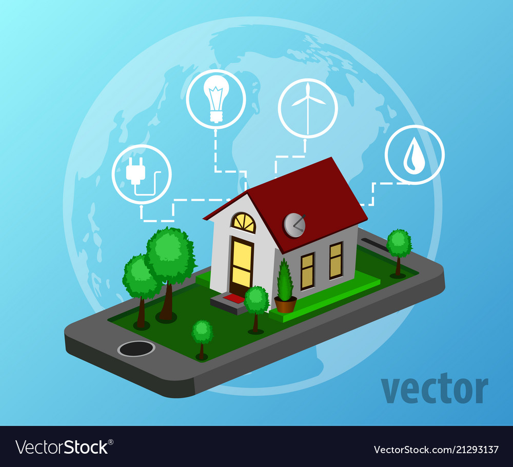 Smart home isometric design style