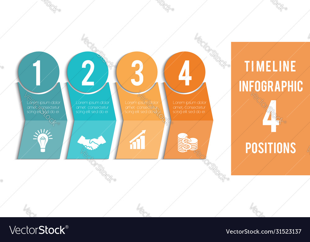 Template for infographic timeline colored
