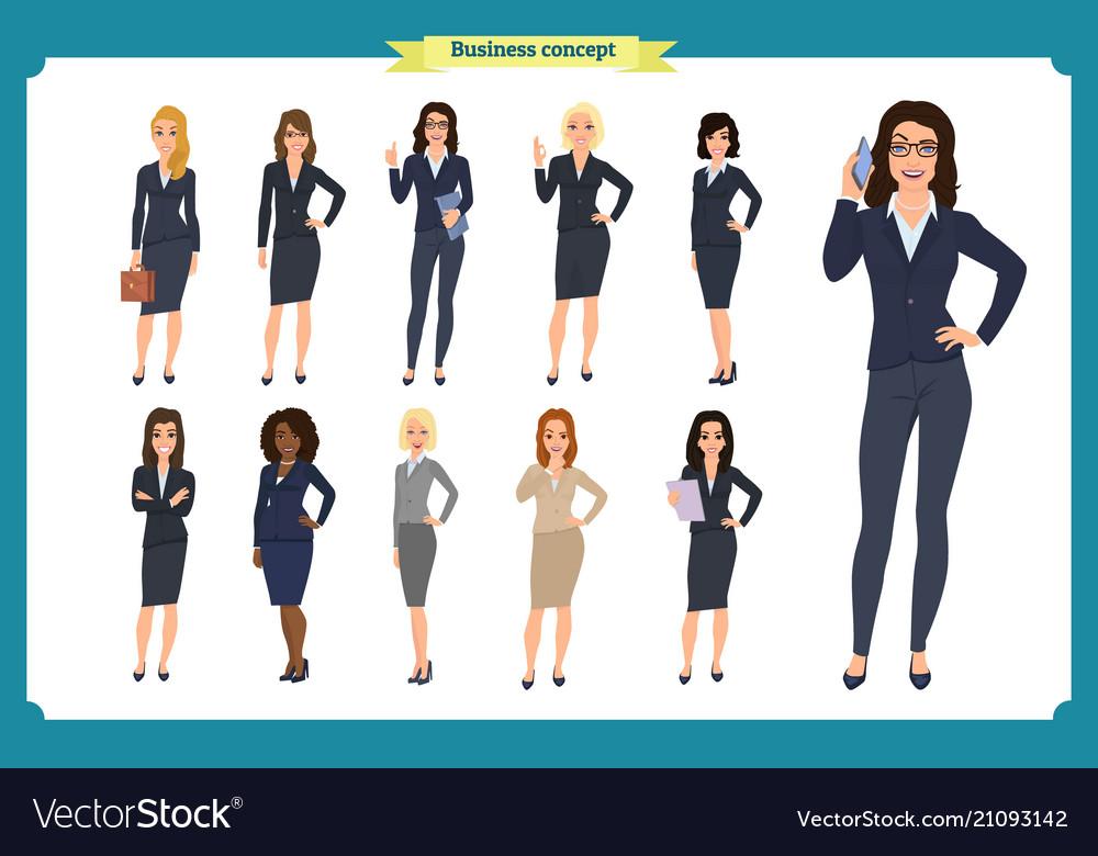 Business people set of womensteamwork