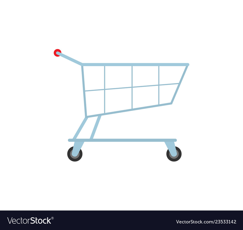 Cart on rolls store isolated icon trolley