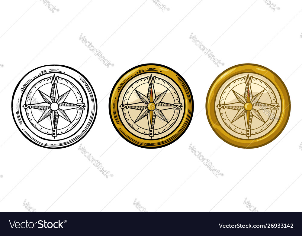 Compass rose isolated on white background