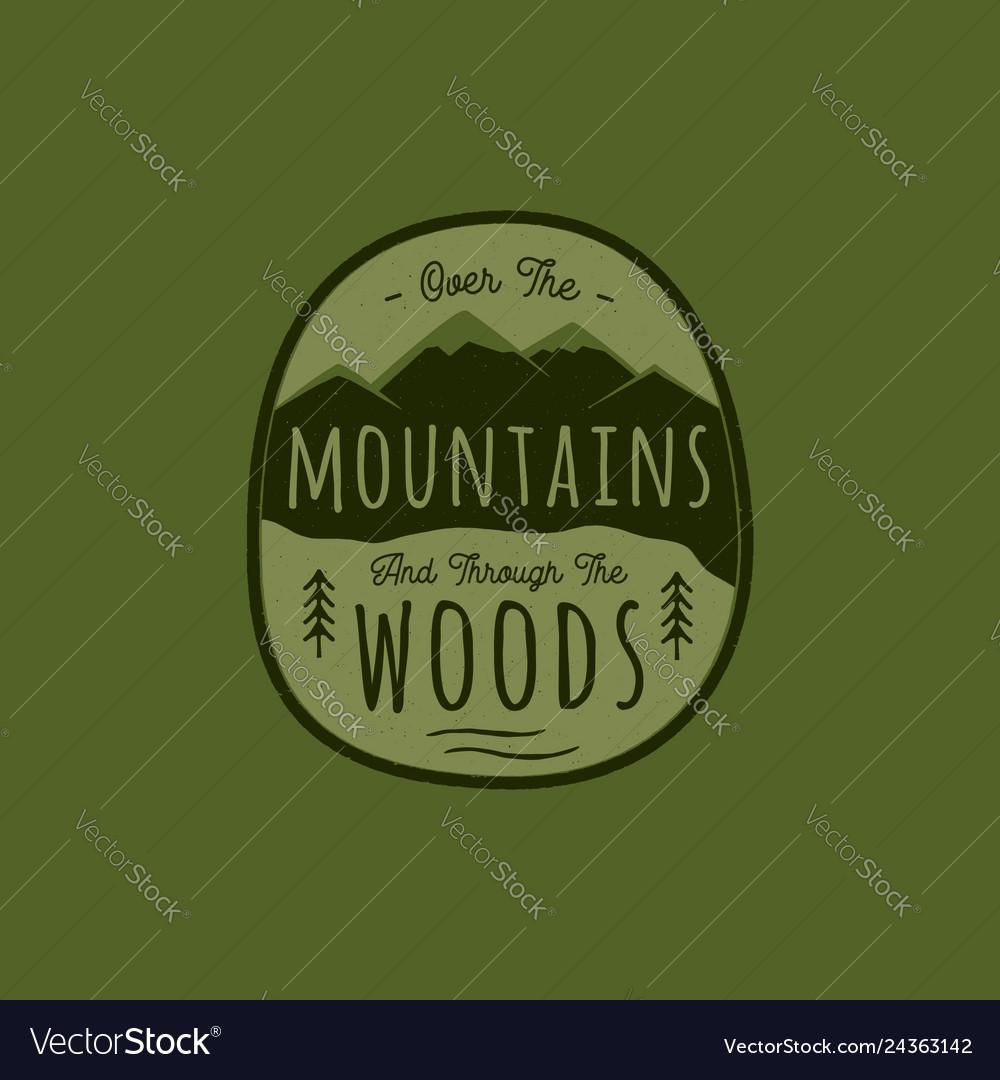 Hand drawn adventure logo with mountain pine