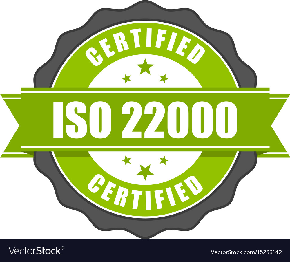 Iso 22000 Standard Certificate Badge Royalty Free Vector