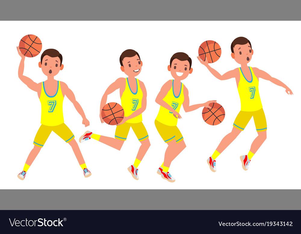 Modern basketball player man sports vector image