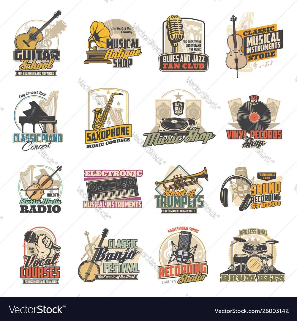Music instrument vinyl record microphone icons