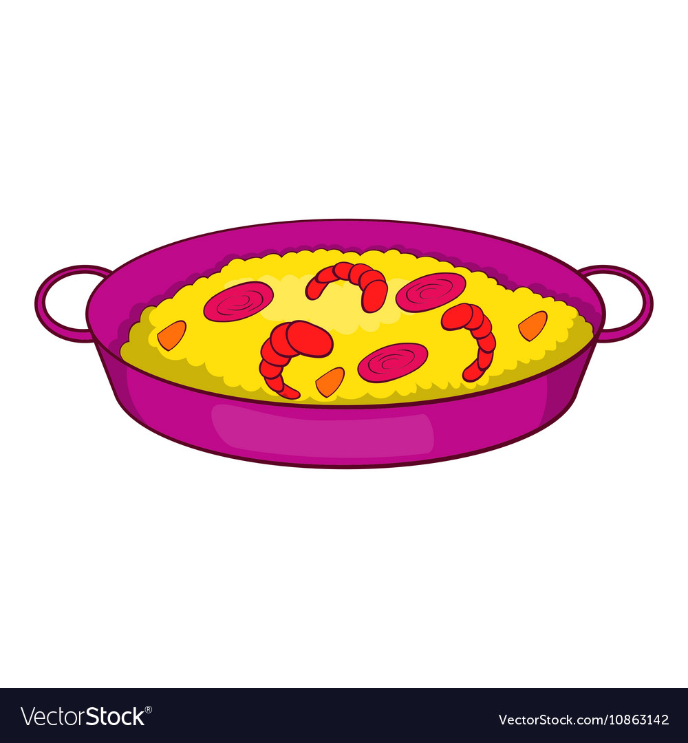 Paella with seafood on pan icon cartoon style