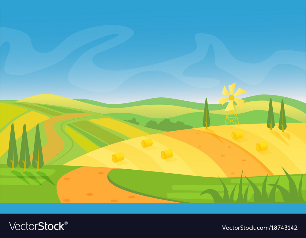 Rural beautiful landscape fields and hills at