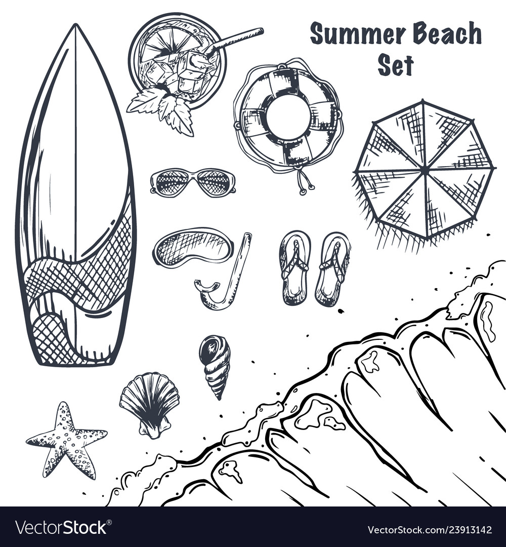 Set of summer beach hand draw sketches wave vector image